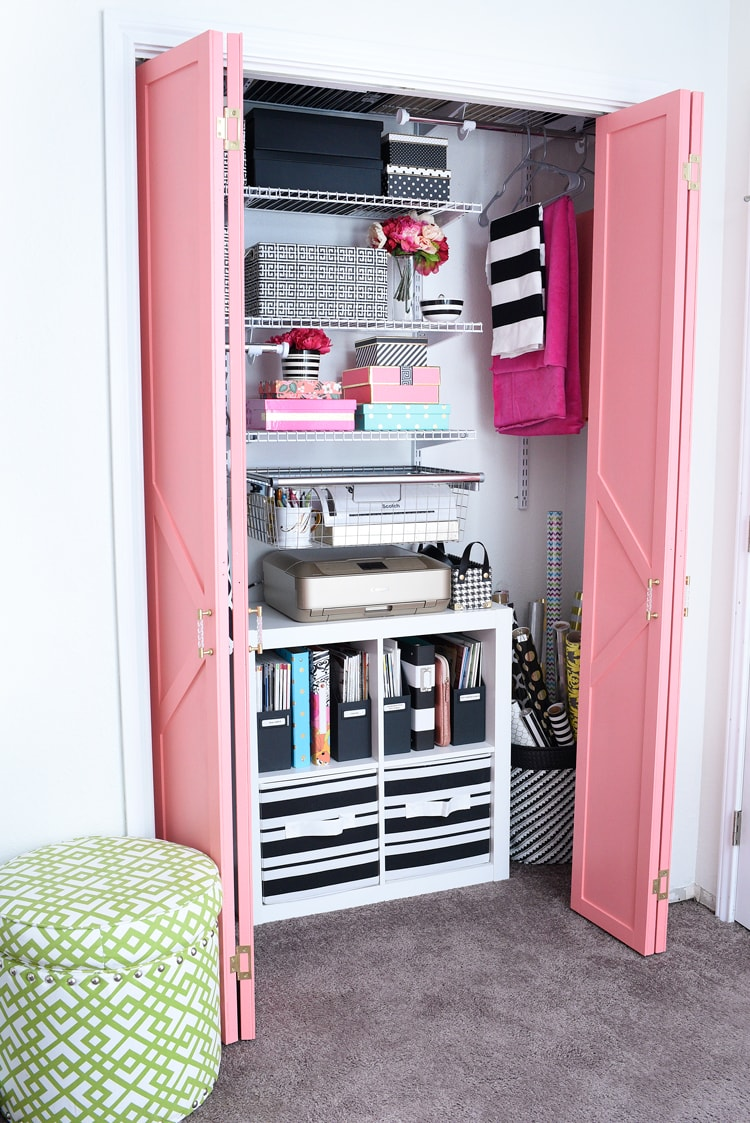 DIY closet system installation for home office