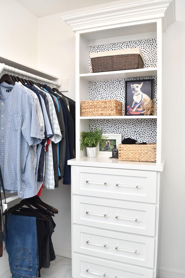 Master bedroom closet built-ins white