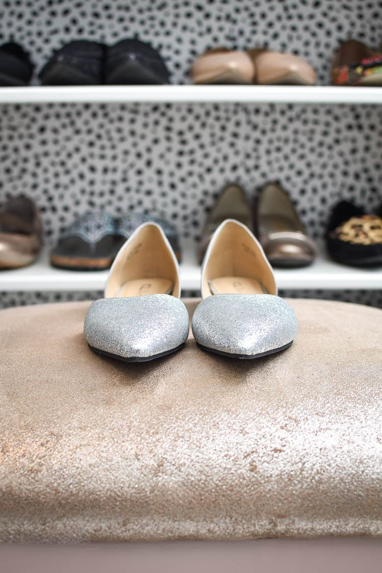 Shoe storage in a master bedroom closet