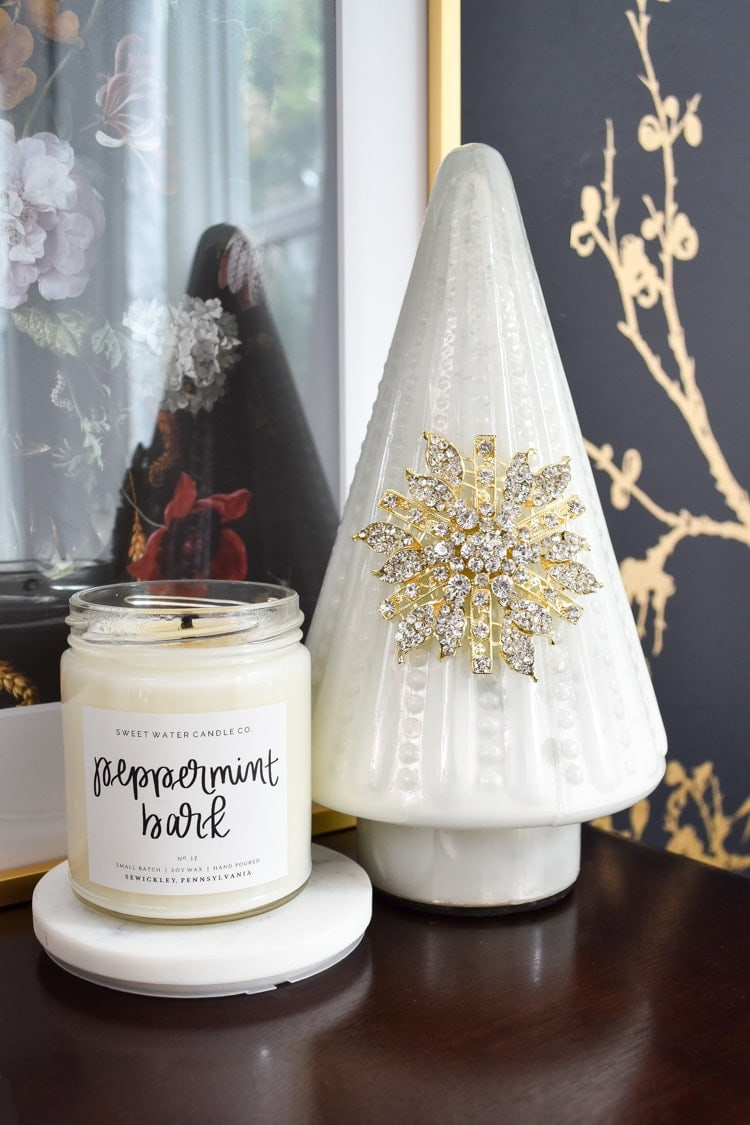 Peppermint bark scented candle from Sweet Water Decor