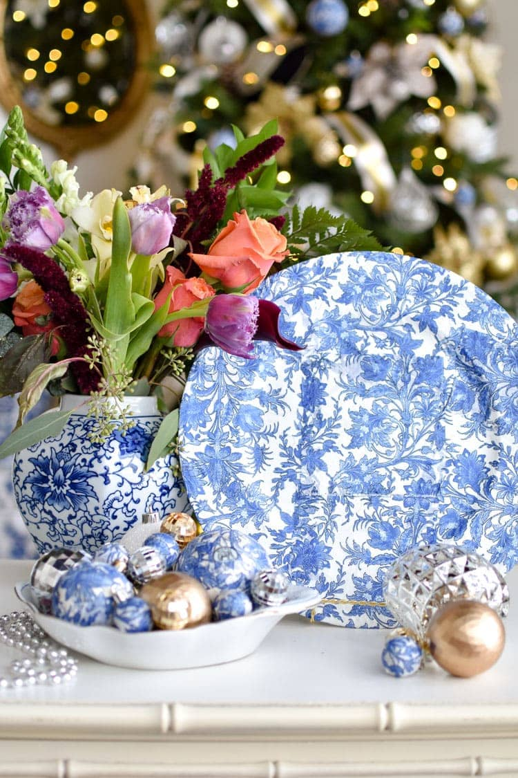 Blue and white chinoiserie Christmas decor