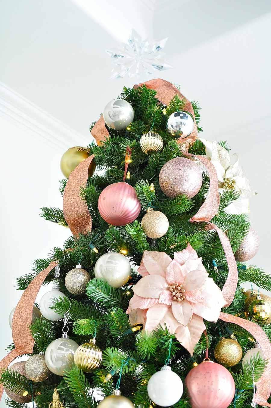 Blush and gold Christmas tree decor
