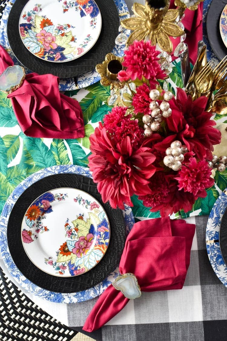 Colorful fall tablescape with pink florals