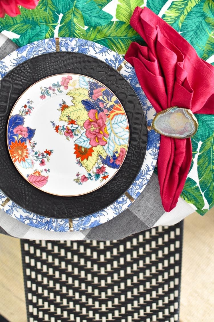Colorful chinoiserie tablescape