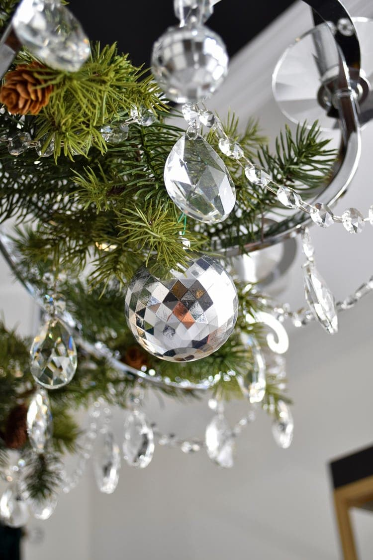 Crystal chandelier with Christmas holiday decor