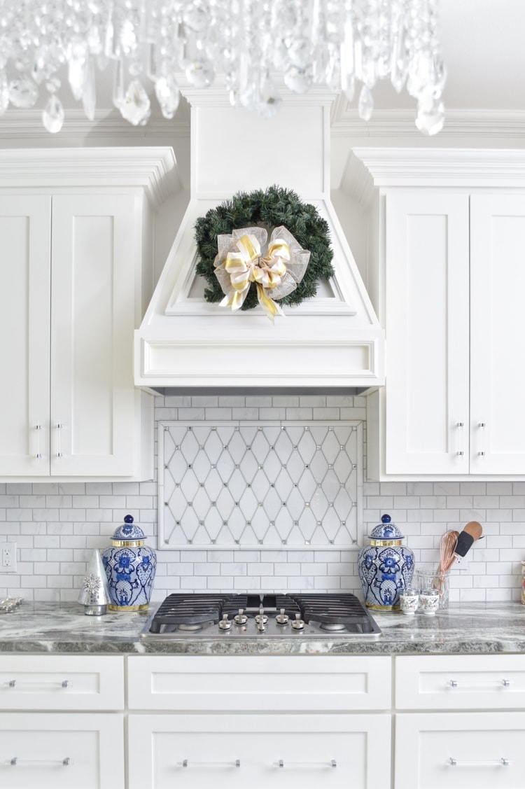 Vent hood with wreath in kitchen