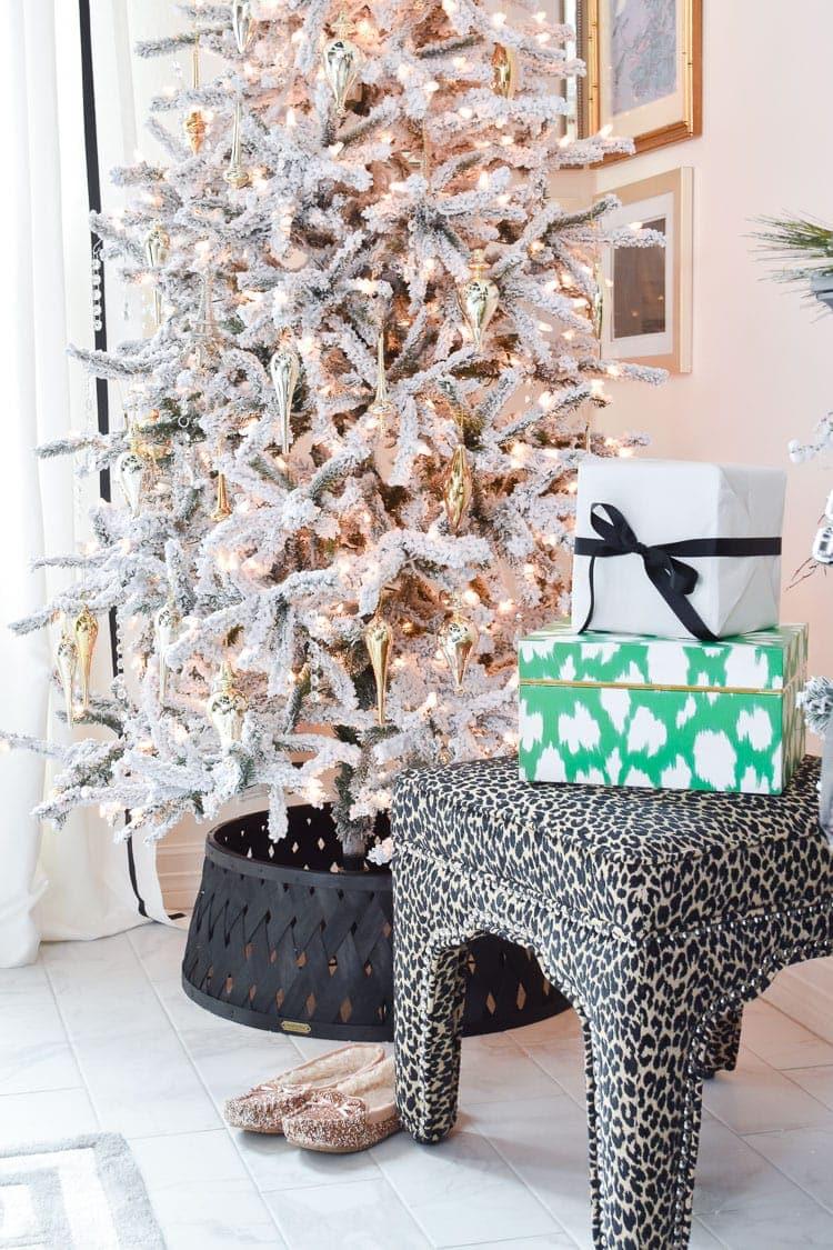 Master bedroom flocked Christmas tree
