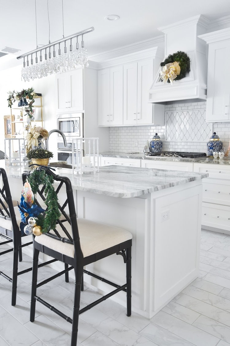 White kitchen decorated for Christmas