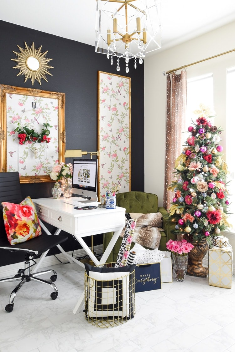 Floral and feminine home office christmas decorations