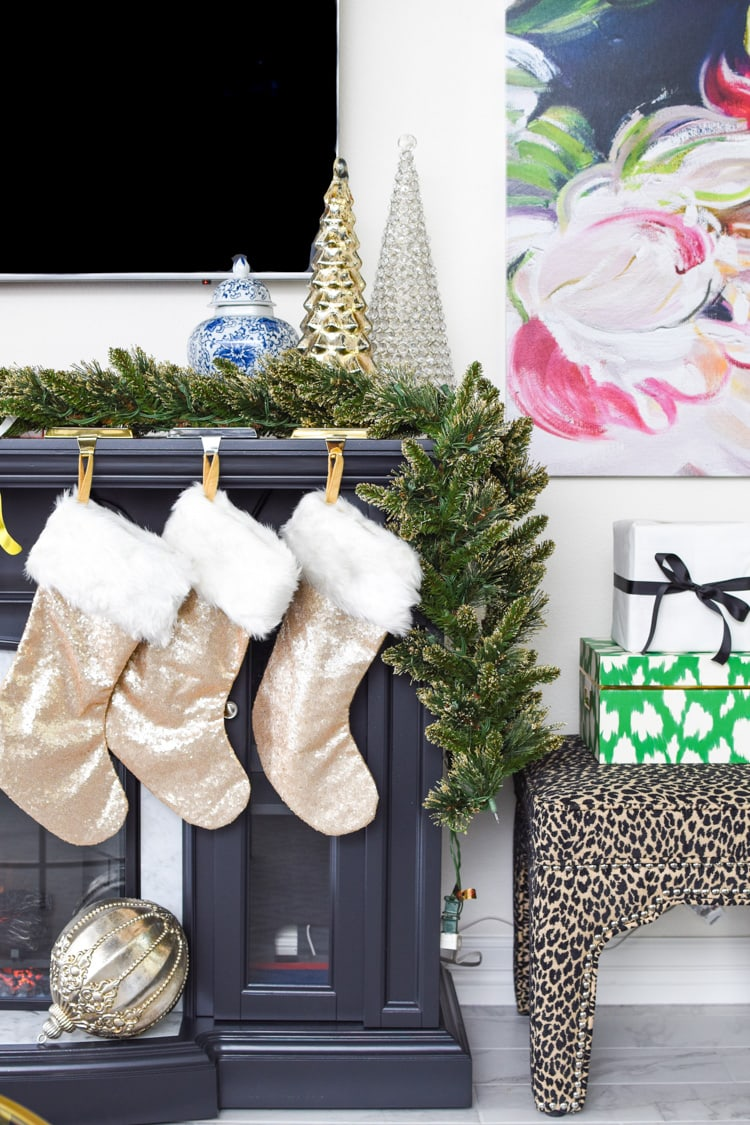 Glam and gold fireplace mantel decor