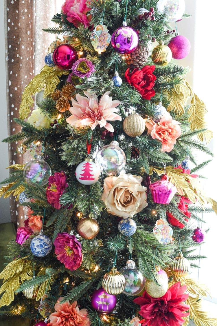 Colorful chinoiserie floral christmas tree