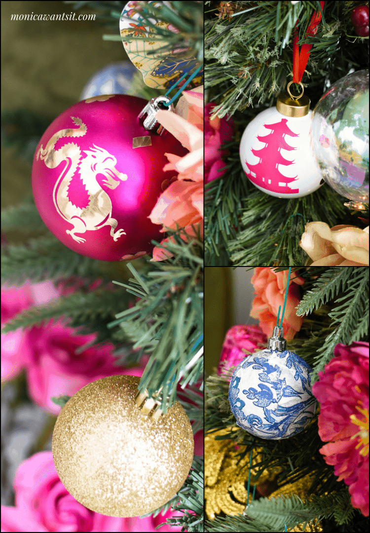 DIY chinoiserie Christmas holiday ornaments