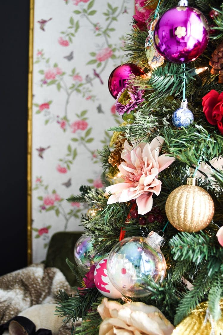 Glam floral pink gold Christmas tree in a home office