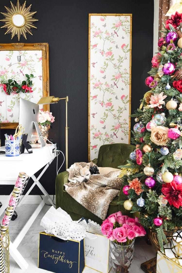 Colorful floral Christmas decor in a home office