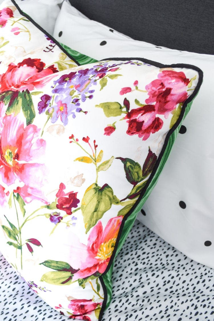 Floral and malachite pillow cover