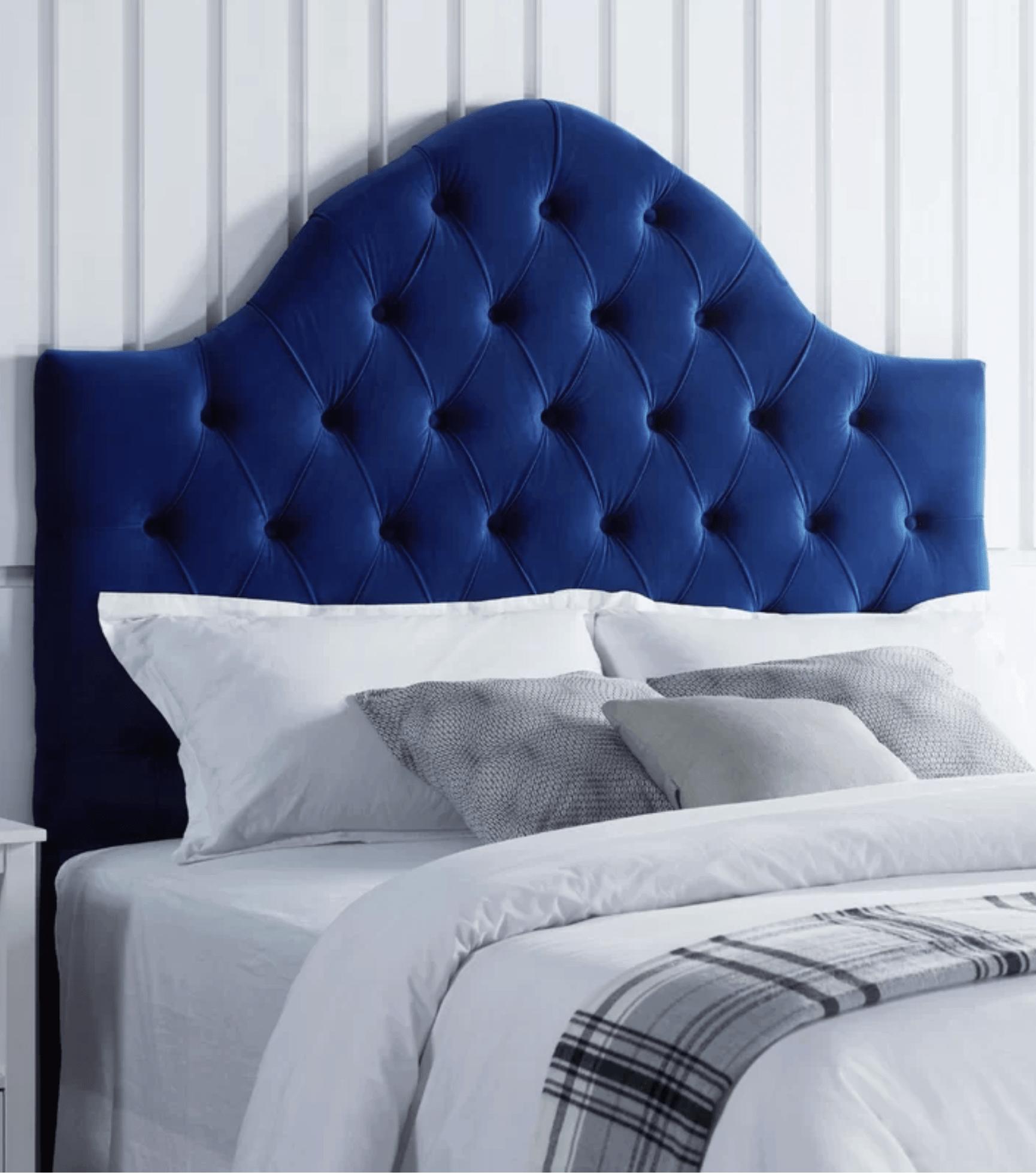 velvet blue headboard