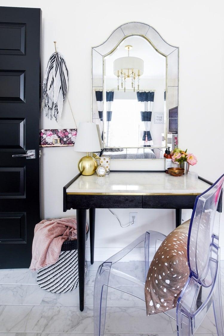 Anton Black & Gold Marble Desk Bedroom Office