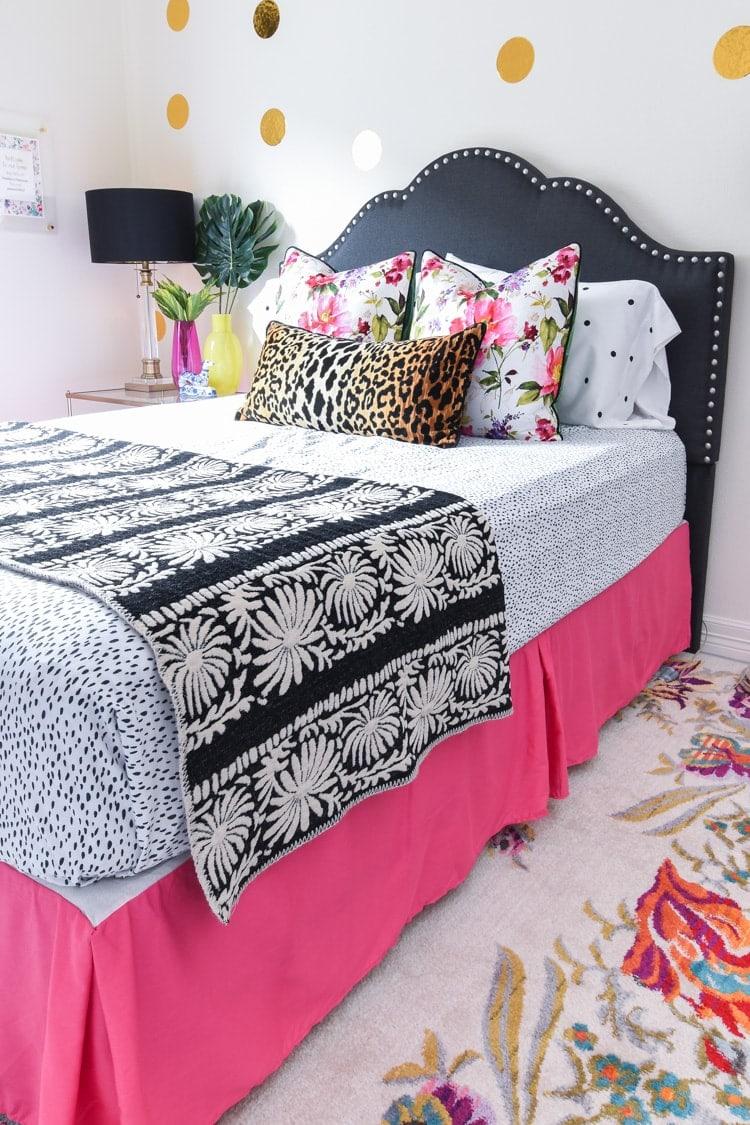 Guest bedroom bedding: leopard, floral, black and white