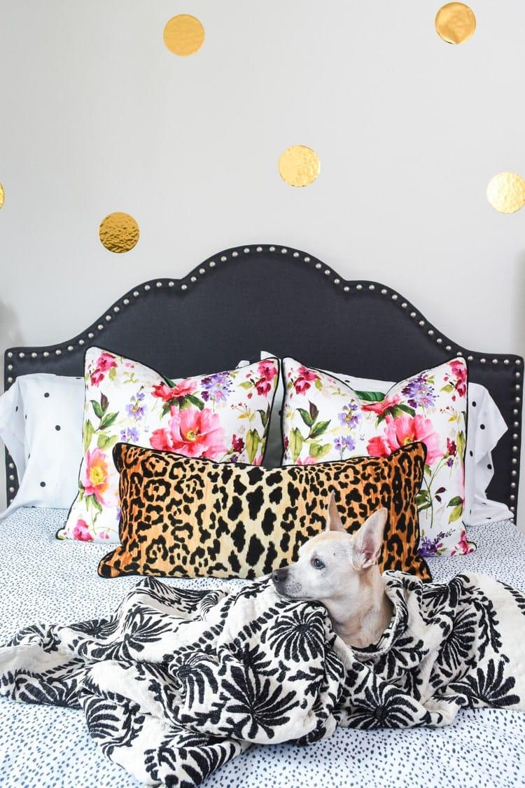 Charcoal linen headboard in a bedroom