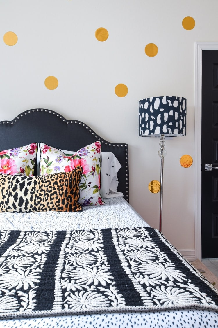 Polka Dot Guest Bedroom Pink Black Gold Decor