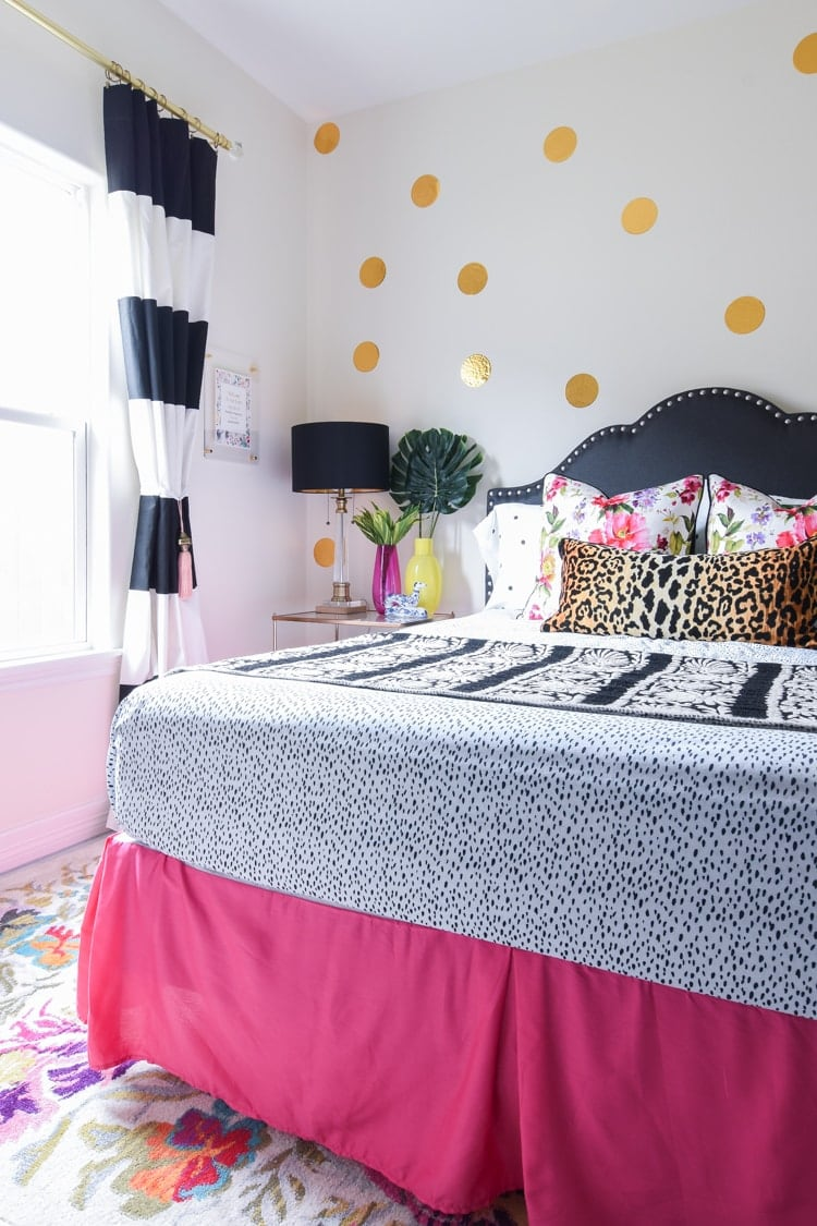 Pink, Black, Gold, Floral Colorful Bedroom Decor Ideas