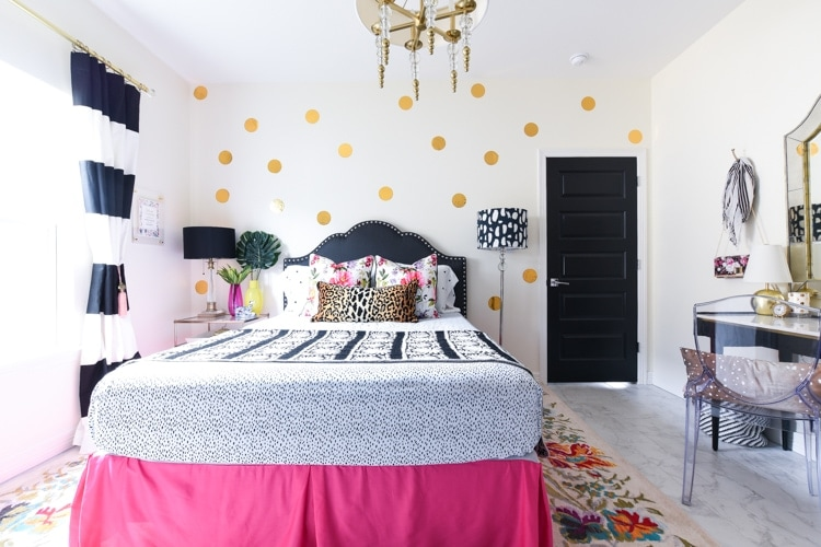 Guest bedroom Kate Spade inspired colorful, pink and black