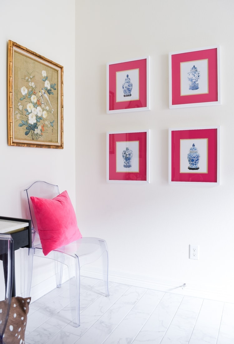 Ginger jar gallery wall ghost chair guest bedroom home office