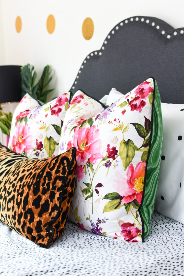 Floral and malachite throw pillows from Loom Decor