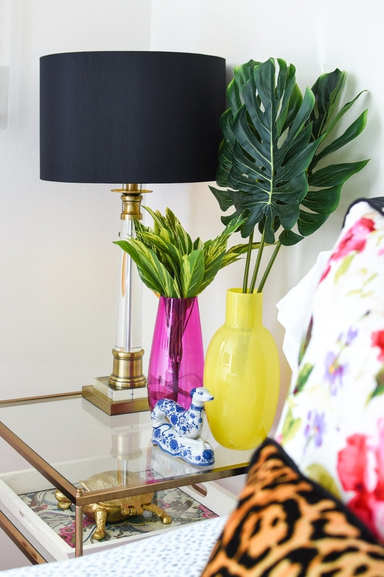 Pink and yellow end table nightstand styling