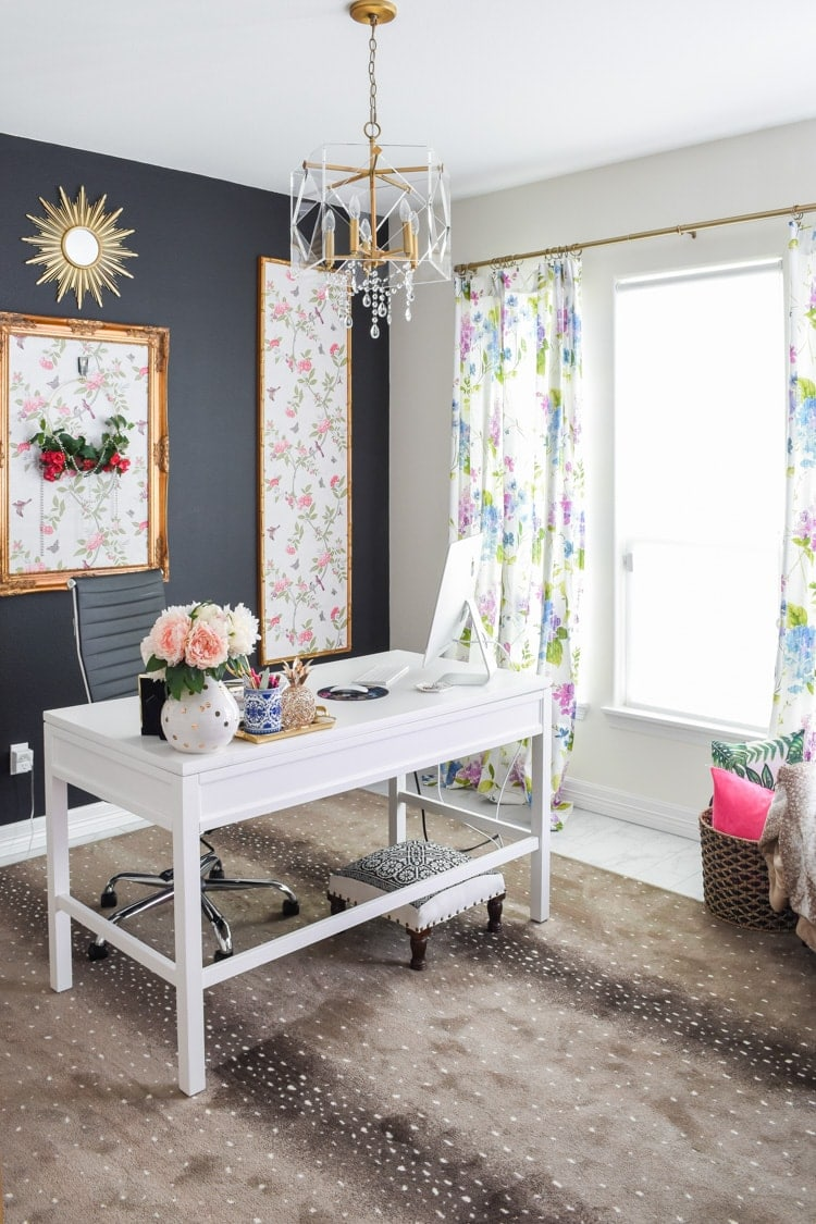 Home office decor, antelope print rug, floral curtains