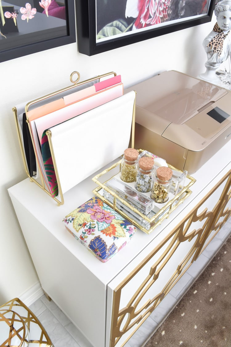 Office organization decor gold and white